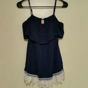 Navy + Lace Top